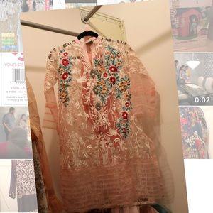 Agha Noor Embroidered  Kurti, Inner, Dupatta -  S